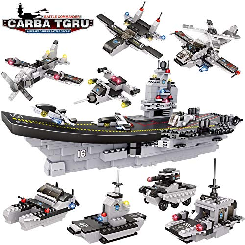 WishaLife City Police Giant Army Aircraft Carrier Battle Group Building Kit, Military Battleship Model Building Set with Solid Hull and Deck with Storage Box for Boys Girls 6-12 (1330 Pieces)