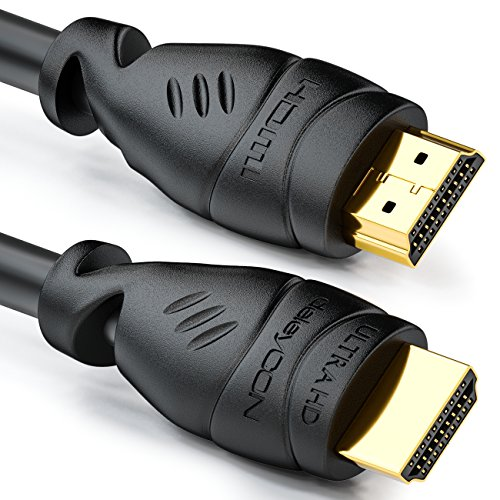 deleyCON 2m HDMI-Kabel - Compatibel met HDMI 2.0a/b/1.4a UHD Ultra HD 4K HDR 3D 1080p 2160p ARC TV LED Beamer OLED PC - Zwart