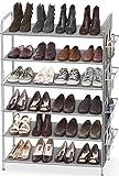 Simple Houseware 6-Tier Shoe Rack Storage Organizer 34-Pair w/ Side Hanging Bag, Grey
