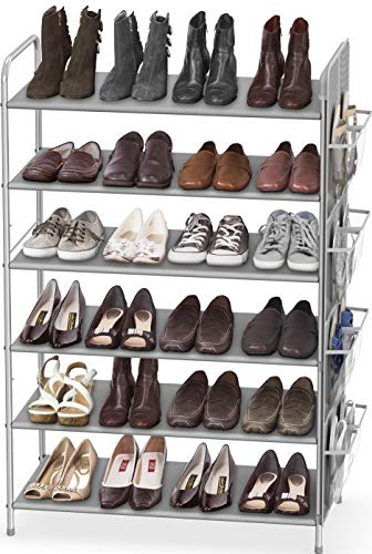 Simple Houseware 6-Tier Shoe Rack Storage Organizer 34-Pair w/Side Hanging Bag, Grey