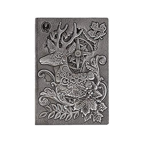Cuaderno de diario de papel de calidad de tapa dura para regalos, cuaderno de trabajo de viajeros, cuaderno de 8.4 x 5.7 pulgadas (color plateado)