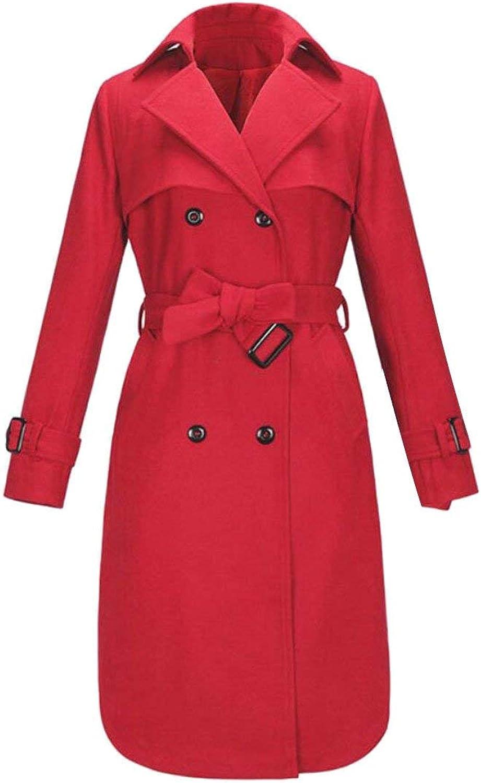 Alion Women's Warm Double Breasted Lapel Wool Blend Outwear Jackets