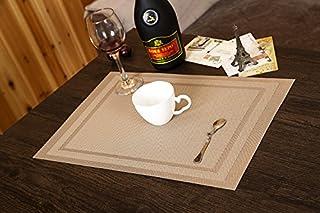 Estera de la estera de la estera europea Paño de la llana japonesa cojín de la almohadilla del tazón de fuente Plato occidental comida de estilo, 4 Beige