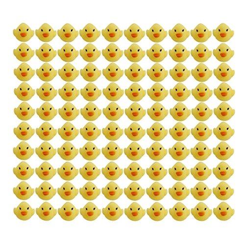 玩具の神様® かわいい ピヨピヨ アヒルちゃん 100個 セット お風呂でプカプカ (お片付けネット+吸盤4個セ...