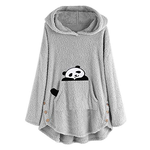 CHMORA Womens Tops, Female Long Sleeve Pocket Plush Cute Cat Embroidered Solid Color Jacket Sweatshirt Fleece Embroidery Plus Size Warm Hoodie Top Button Sweater Blouse