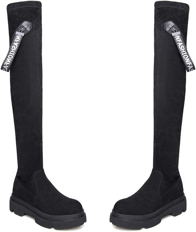 Slim Slim Slim Long Boot Warm skor Plattformar Dancing Nightclub skor Damer Tight High Socks stövlar  snabb frakt och bästa service