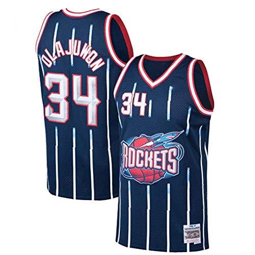XIAOHAI Uomo NBA Maglie - Houston Rockets # 34 Hakeem Olajuwon Respirabile Freddo di Tessuto Traspirante Wear Resistant Vintage Basketball Maglie Top T-Shirt,Blu,XL
