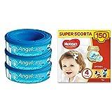 Foppapedretti Ricarica per Maialino, 3 Pezzi + Huggies Pannolini Ultra Comfort, Taglia 4 (7-18 Kg),...