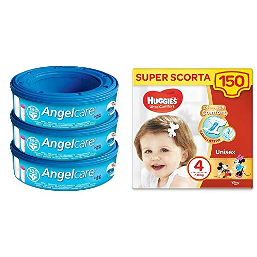 Foppapedretti Ricarica per Maialino, 3 Pezzi + Huggies Pannolini Ultra Comfort, Taglia 4 (7-18 Kg), Confezione da 150 Pannolini