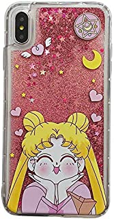 C CASESOPHY Pink Glitter Flowing Clear Sailor Moon Case for Apple iPhone XR 6.1 Cartoon Shockproof Protective Kawaii Glittery Liquid Floating Transparent Girls Teens Women
