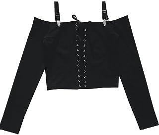 [Yangelo] カットソー レディース セクシー オフショルダー トップス スリム 長袖 着痩せ 肩見せ 編み上げ おでかけ カジュアル ゴシック風
