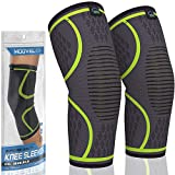 Modvel 2 Pack Knee Compression Sleeve | Knee Brace for Men & Women | Knee Support for Running, Basketball, Weightlifting, Gym, Workout, Sports | Joint Pain Relief - Please Check Sizing Chart…