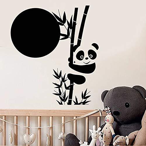 Panda pared de bambú lindo animal estilo asiático vinilo ventana pegatina niños dormitorio guardería aula decoración de interiores mural