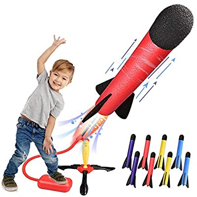 LQYoyz Kids Outdoor Toys, Rocket Launcher Toys Gifts for 4, 5, 6, 7, 8, 9, 10, 11 Year Old Boys, Girls, Kids - Shoot Up to 100 Feet (8 Rockets)