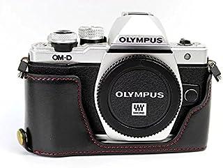 オリンパス OM-D E-M10 Mark II E-M10 II Olympus OM-D E-M10 Mark II E-M10 II 半カメラカバー 半カメラケース、Koowl手作りのトップクラスのPUレザーカメラボディージャケット、保護袋、台座の透かし彫り+ハンドストラップ(カメラストラップ)、防水、防振、ポータブル (ブラック)
