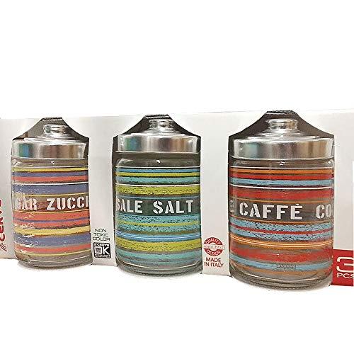 Herten verpakking met 3 glazen met deksel, gemaakt in Italië 800 cc, voor zout suiker koffie