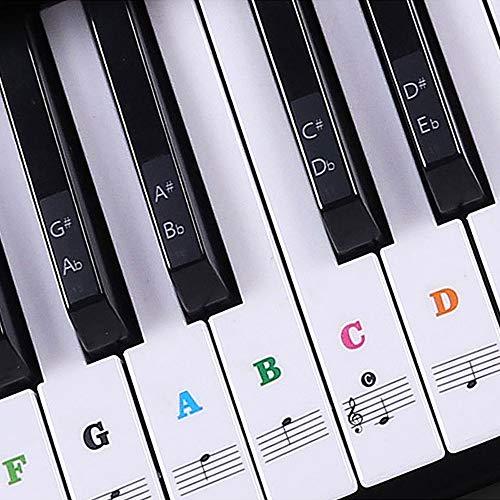UBERMing Klavier Aufkleber Transparent Klavieraufkleber Piano Sticker Keyboard Noten Ablösbare und Color Aufkleber für die Klavier mit 1 Klaviertuch Grün mit 37/49/54/61/88 für weiße & Schwarze Tasten