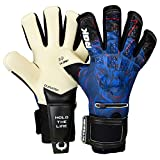 Renegade GK Limited Edition Rogue Guardian Goalie Gloves with Pro-Tek Fingersaves | 4mm Giga Grip & Neoprene | Black & Blue Soccer Goalkeeper Gloves (Size 6, Kids, Youth, Neg, Level 4+)