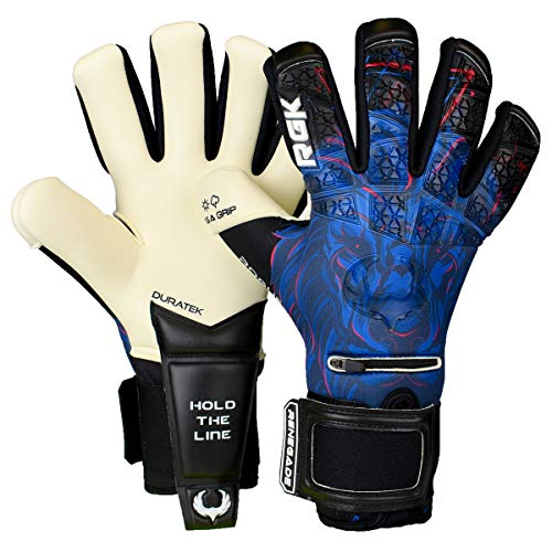 Renegade GK Limited Edition Rogue Guardian Goalie Gloves with Pro-Tek Fingersaves | 4mm Giga Grip & Neoprene | Black & Blue Soccer Goalkeeper Gloves (Size 9, Youth-Adult, Negative Cut, Level 4+)