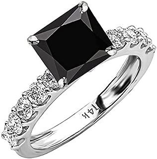 2.9 Carat t.w 14K White Gold Classic Side Stone Prong Set Diamond Engagement Ring w/ a 2 Carat Princess Cut Black Diamond Heirloom Quality