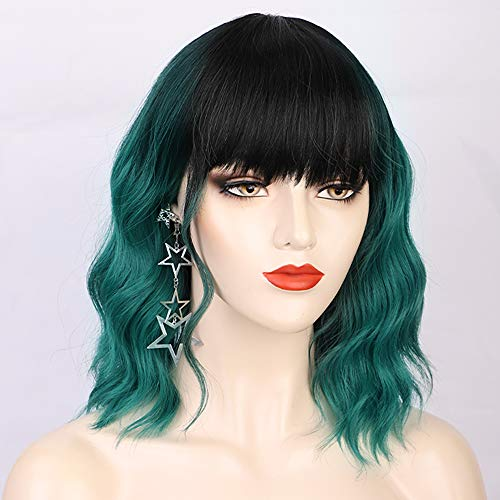 AISI QUEENS Short Bob Wavy Wig Ombre Green Cosplay Synthetic Curly Wigs with Bangs for Women 2 Tone Black To Green Color Shoulder Length Cosplay Heat Resistant Fiber Hair Wigs