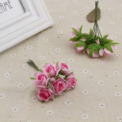 6 stks steeg kunstbloemen voor bruiloft auto decoratie handwerk diy bruid boeket thuis decoratieve zijden krans feestartikelen, roze