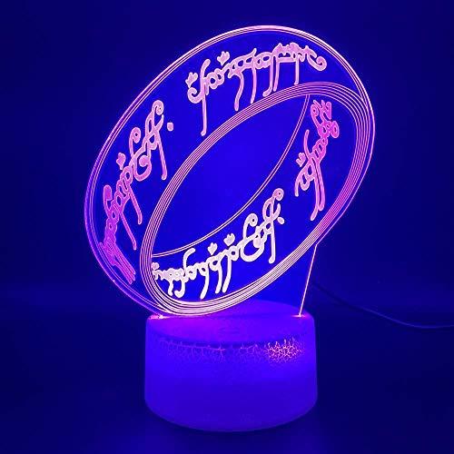 Única lámpara de luz nocturna LED óptica 3D El señor de los anillos Habitación de oficina Ambiente decorativo Luz nocturna para niños Dormitorio infantil Regalo único
