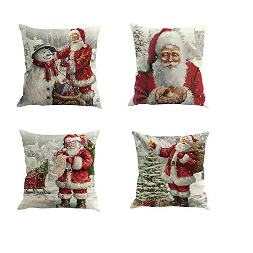 Fossrn 4 Piezas Navidad Fundas Cojines 45x45, Funda de Cojín Decoracion para Hogar Casa Sofa Jardin Cama (A)