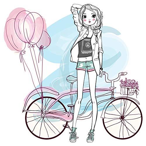 dekodino® Wandtattoo Modernes Design Mädchen mit Fahrrad Cruiser und Ballons