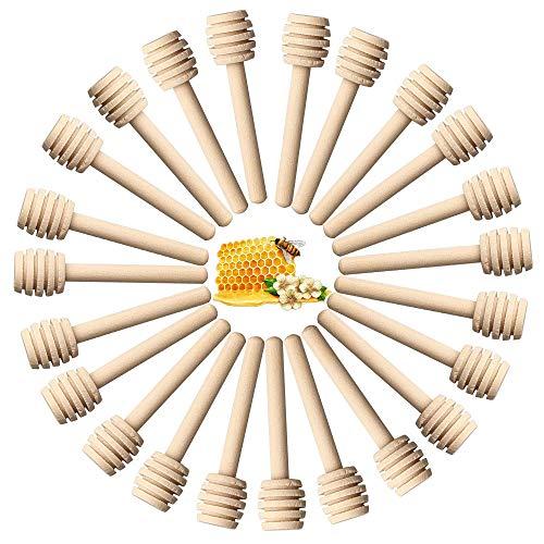 24 piezas de madera para la miel y 50 colgantes – Mini palos de madera para la miel – Llovizna portátil para regalo de boda – 24 piezas de palos de inmersión y 50 piezas colgantes de abeja)