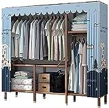 Armario Dormitorio Plegable Simple Instalación Gratuita Paño Marco de Acero Completo Espesar Colgante (Color: A, Tamaño: 165 * 140 * 45Cm) sólido