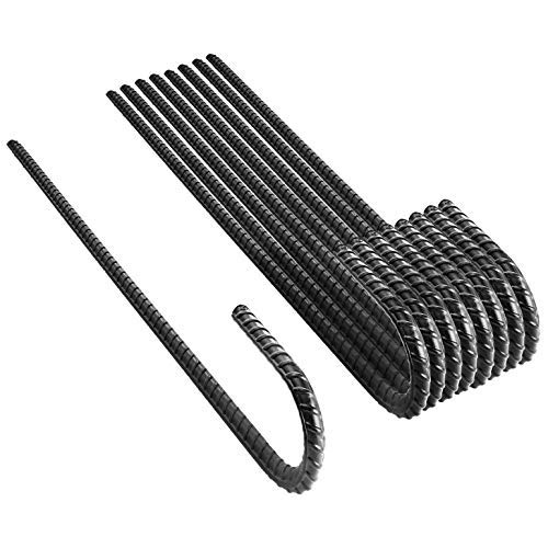 """NHZ 16"""" Ground Rebar Stakes (8pcs) Heavy Duty J Hook Ground Anchors, Curved Steel Plant Support Garden Stake with Chisel Point end, Hammer Through Hard Soil for Camping Tent - Black Powder Coated"""