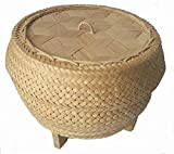 YANEE sticky rice cooker steamer bamboo basket with lid dumpling steam steaming food baskets cooker vegetable dumpling steam use with insert electric rice cooker pot size 6 inch