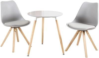 Zons Table de Cuisine, Salon D60cm / Table tête à tête/Table Salle à Manger H69cm (Gris)