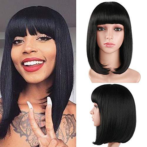 Negro Bob peluca corta 14 pulgadas plana flequillo Longitud del hombro Seda sintética suave Color natural peluca de las mujeres