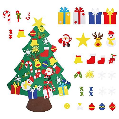 GONFOWE Fieltro Árbol de Navidad,3.2ft DIY Árbol de Navidad con 30 Adornos Navidad Decoración Colgante Niños arbol de Navidad Cafe Hotel casa decoración