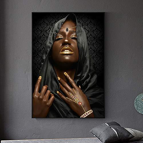 Leinwanddruck moderne schwarze weibliche Modellmalerei Plakatwandkunstplakatdruckbild Hauptdekoration Wohnzimmer rahmenlose Leinwandmalerei Z60 50x70cm