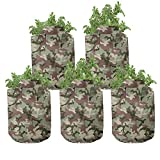 Ambesonne Camo Grow Bags 5-Pack, Pattern in Forest Colors, Heavyduty Fabric Pots with Handles for Plants, Dark Green
