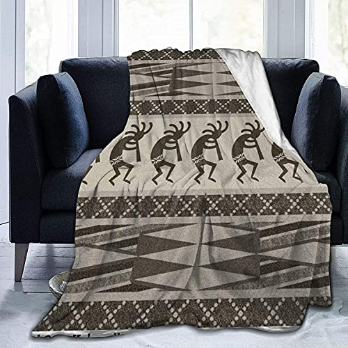 Manta de microfibra ultra suave, duradera, color negro y gris, Kokopelli, manta azteca, suave y cálida, para cama, sofá, oficina, sala de estar, decoración del hogar, 127 x 152 cm