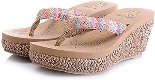 Summer Grass Woven Wedge Sandals Seaside Resort Beach Slippers (Color : Apricot, Size : 37EU)