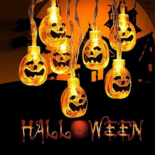 Kürbis Lichterkette für Halloween Deko 2 Sets 3m 20 Lichter 3D Laternen für Halloween Dekorationen Outdoor, Indoor, Party (Batterie nicht enthalten)