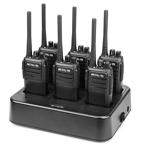 Retevis RT21 Two Way Radios Long Range FRS Adults Walkie Talkies Hands Free Pricacy Code Business 2 Way Radios(6 Pack) with Six-Way Multi Gang Charger