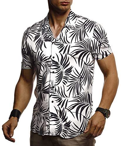 Leif Nelson Herren Hemd Kurzarm Oversize Kentkragen Stylisches Männer Hawaiihemd Stretch Kurzarmhemd Jungen Basic Shirt Freizeit Urlaub Sommerhemd LN3655 Weiß Medium