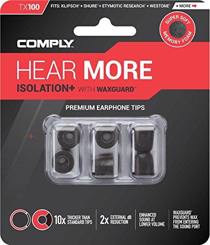 COMPLY (コンプライ) イヤホンチップ Tx-100 ブラック Mサイズ 3ペア (並行輸入品)