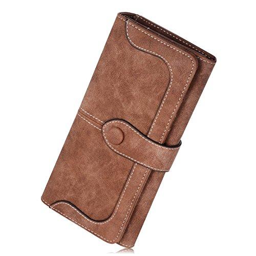 JMSIA Vintage-Ledertaschen Wildleder Tasche Damen Geldbörse Lang Damen Portemonnaie Braun