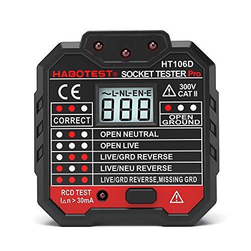 Socket Tester,Steckdosenprüfgerät,Advanced Steckdosen Tester Automatischer Stromkreis-Detektor Polaritätsprüfer für Leiter, Neutralleiter und Erde Tester LCD-Anzeige
