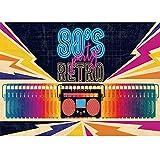 FiVan Back to 80's Party Hintergrund 80th Disco Event Dekoration Hintergrund Tape Recorder Muster Wandbehang Banner XT-7315