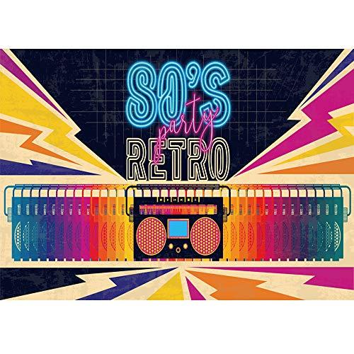 FiVan Bannière de fête Disco en Vinyle sans Reflets – Retour aux années 80 90 pour décoration de fête, XT-7315, 79'x59'(200x150cm)