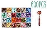 Sellado de Cera,600 cuentas de cera en caja de plástico, con y 1 cuchara de cera para fundir sellos de cera (24 colores)