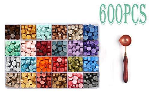 Sellado de Cera,600 cuentas de cera en caja de plástico, con 2 velas de té y 1 cuchara de cera para fundir sellos de cera (24 colores)